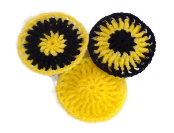 Nylon Pot Scrubbers - Set of 3 -- Yellow and Black