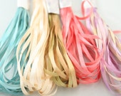 Silk Ribbon Embroidery Thread 5 meter lengths 5 Varigated hand dyed colour way Green pink blue peach cream yellow