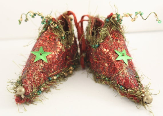 Reserved for PJS51 Fairy shoes Christmas Ornament Red Sparkle Star