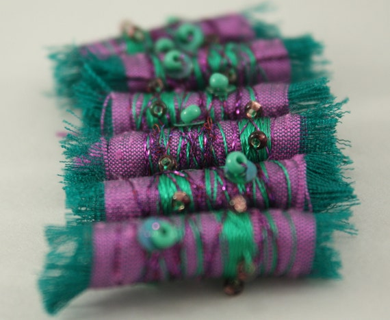 Fiber Bead Fabric Purple and Teal Green shades  Embroidered Textile Art Bead with seed bead and sequins
