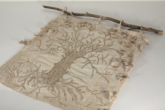 Tree of Life embroidery cloth embossed thread painting nature neutral monochromatic wall art