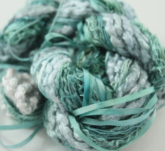 Silk Embroidery ribbon and Thread jungle and dark teal green Hand Dyed Variegated - 7 silk threads - 5 meters of each
