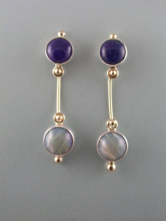 Simple Drama- Earrings with Lapis and Opal.