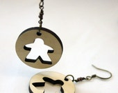 Meeple Token Earrings Wood and Brass