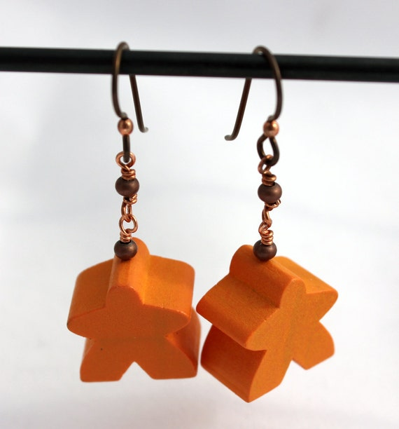 Meeple Earrings Orange and Copper