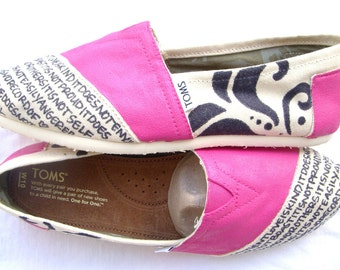 The Barbie - Hot Pink and Cream Custom TOMS