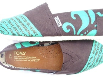 The Brownie - Brown and Teal Custom TOMS