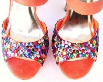 The Diva - Sparkly Sequins and Jewels Custom Shoes
