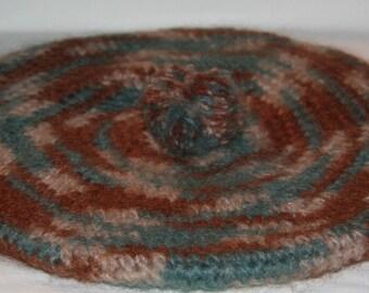 Womens Slouch Hat Tam Turquoise, Brown, Beige Handmade Crocheted Bernat's Mohair
