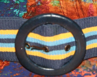 VIntage Belt - Blue and Yellow Striped Belt with Blue Buckle Marked Astor W Germany