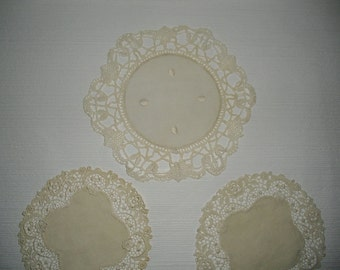 Vintage Linen and Lace Crocheted Doilies Set of Three