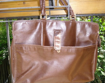 Vintage Leather Briefcase - Dark Brown Leather Bag from Uruguay