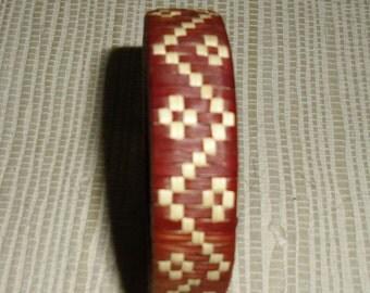 Vintage Bracelet Rust and Natural Straw