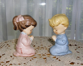 Vintage Figurines - Girl and Boy, Praying Figures, Made in Japan