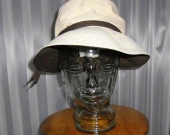 Vintage Hat - Anita Pineault -  Summer Hat - Cream with Brown Trim - Women's Cloche Hat