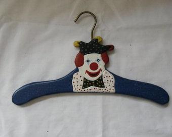 Vintage Childrens Clothes Hanger - Handpainted Clown Face