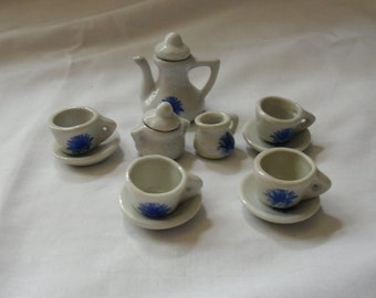 Vintage Miniature Teaset - Teapot, Cream, Sugar and 4 Cups and Saucers - Blue and White China