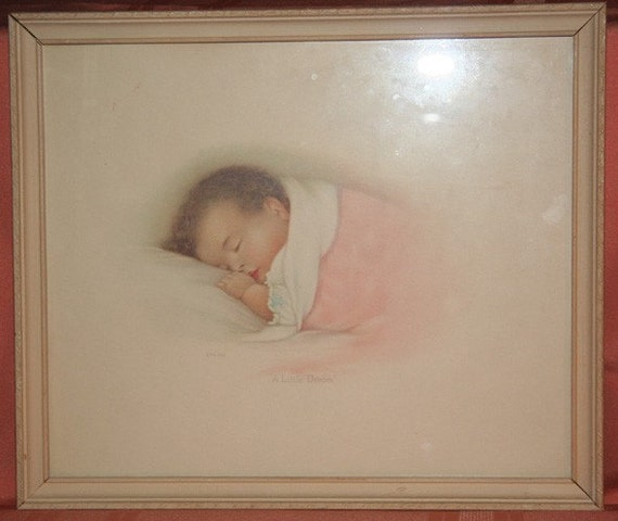 Vintage Print - A Little Dream Dated 1932 - Framed Baby Print - Nursery Picture - Annie Benson Muller