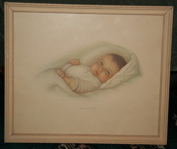 Heavens Gift Dated 1932 Vintage Framed Baby Print By