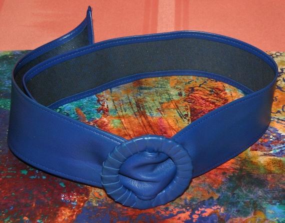 Vintage Belt - Royal Blue Vinyl Belt with Slide Buckle