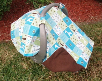 Baby Car Seat Canopy - Giraffe and ABC's