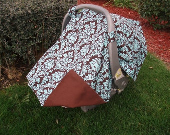Car Seat Canopy Damask Baby Blue / Turquoise and Brown