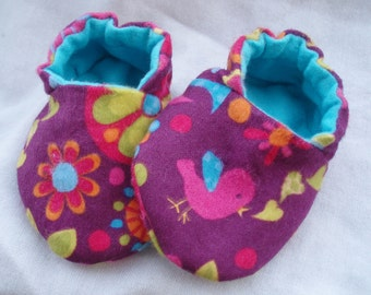 Newborn Baby Shoes Booties Girl - Birds and Flowers