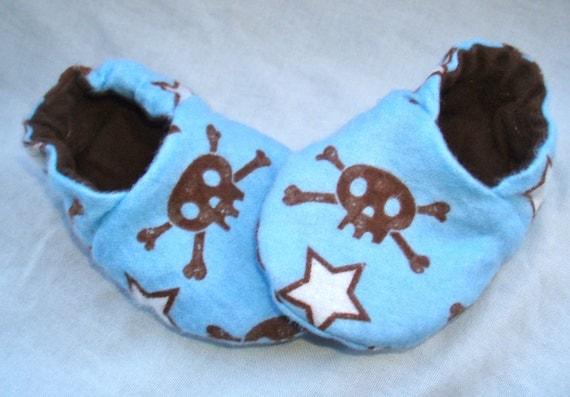Newborn Baby Shoes Booties Boys - Skulls Stars