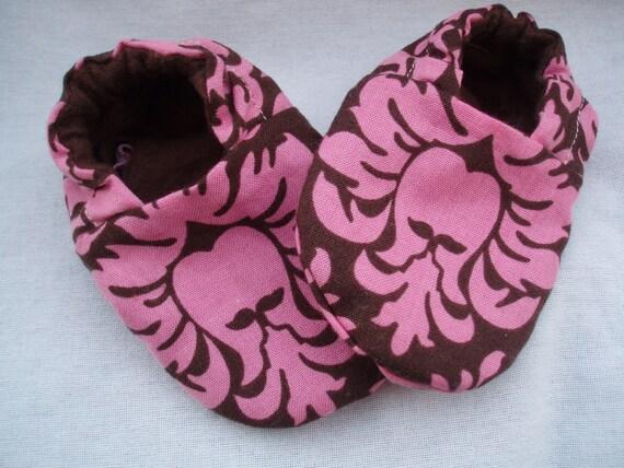 Newborn Baby Shoes Booties  Girl - Damask