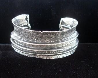 OOAK  33 A  fine silver fold formed bracelet hand chased oxidized organic