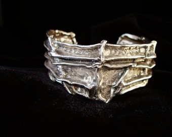 CUFF bracelet fine silver CUFF bracelet hand chased oxidized organic 45A