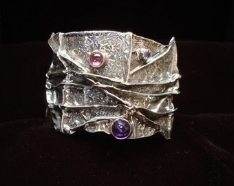 OOAK  52 Fine Silver Fold Formed Cuff Bracelet with amythest,iolite and pink tourmaline semi precious stones  textured oxidized
