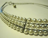 FREE SHIPPING Vintage Pearl Choker Necklace