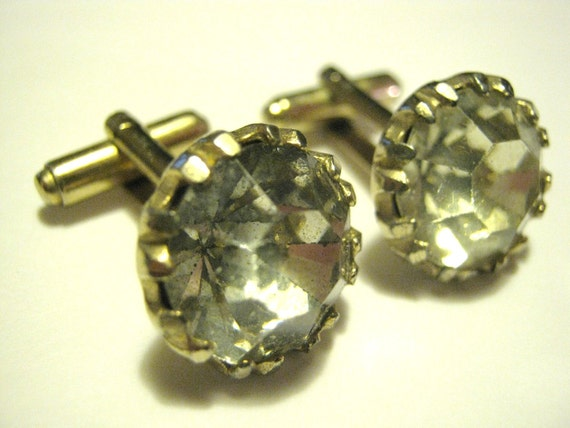 FREE SHIPPING Vintage Crystal Cufflinks