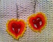 sample sale FREE shipping on second item crochet valentine heart earrings in sunburst