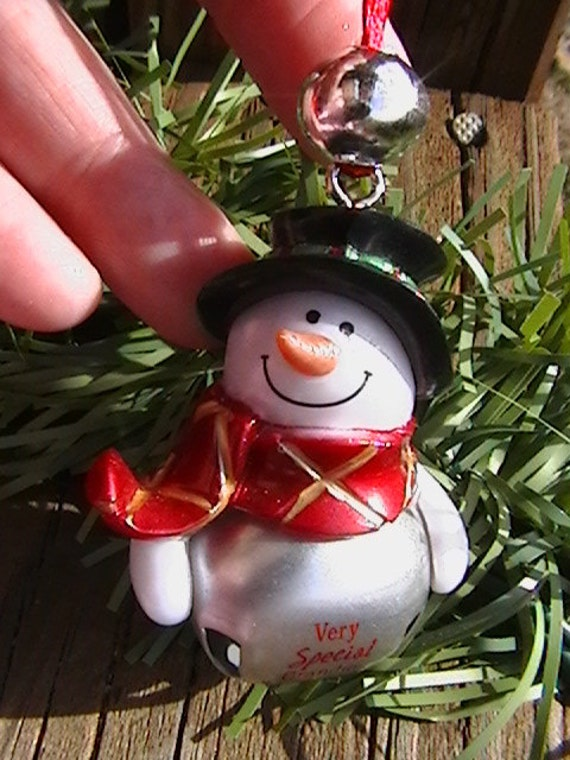 Snowman Necklace Ornament Bell Very SPECIAL Grandma Stocking Stuffer