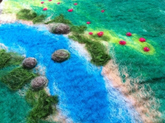 Hand felted story play mat steiner waldorf nature