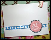 Personalized Delta Gamma (DG) Greek Sorority Note Cards