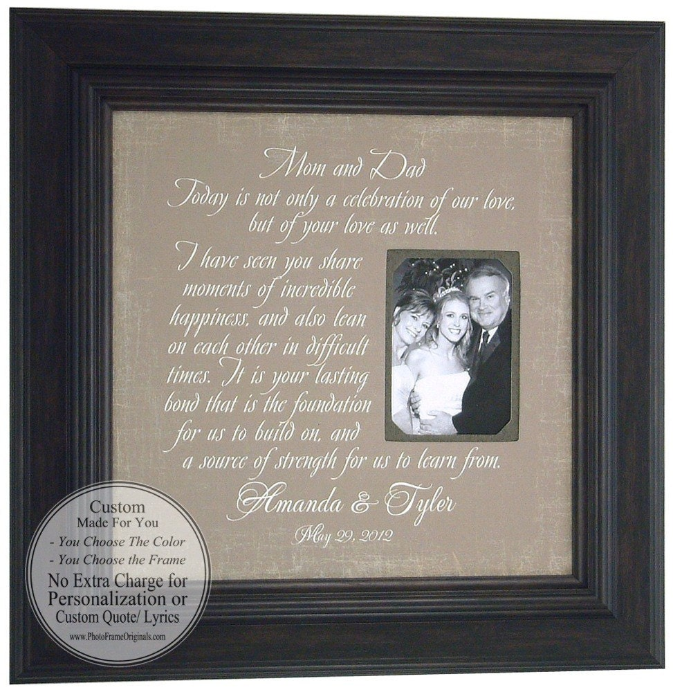 Wedding Gift For Grooms Father : Wedding Sign Thank You Gift MOM & DAD Parents Bride Groom Today A ...