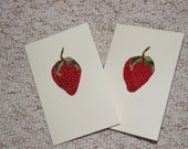 Two Sweet all occasion handsewn fabric strawberry greetings cards