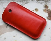 handmade iPhone holder fire red leather