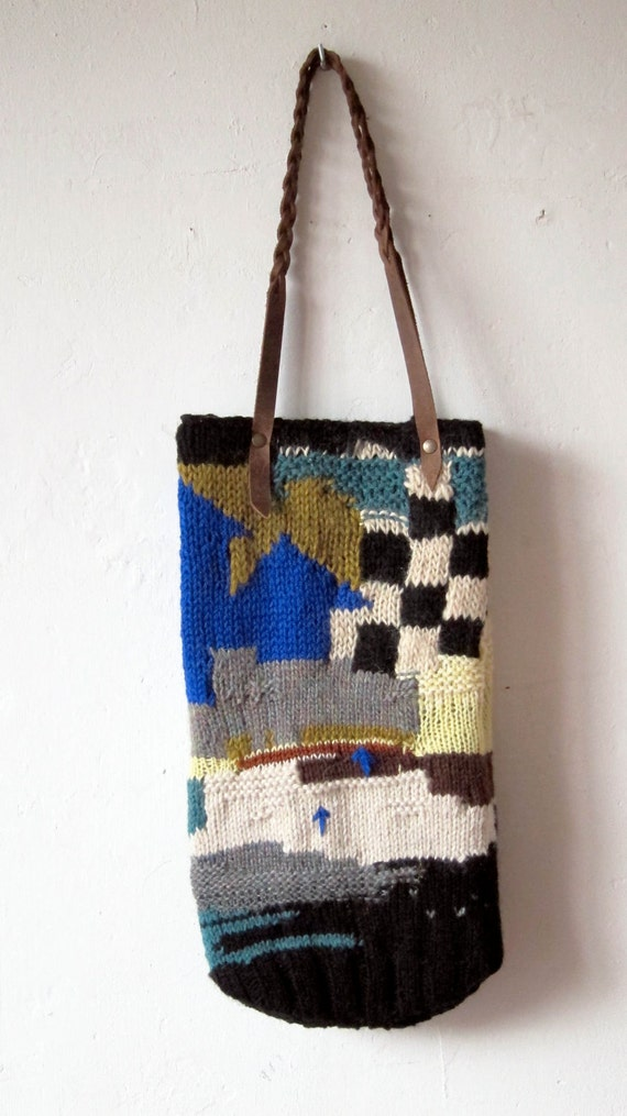 Handmade Knitting Bag Pattern : Items similar to handmade knitted bag with leather handles ...