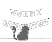 Cat Birthday Card SAD FACE  the cat 'Happy Birthday' note card blank inside for your message
