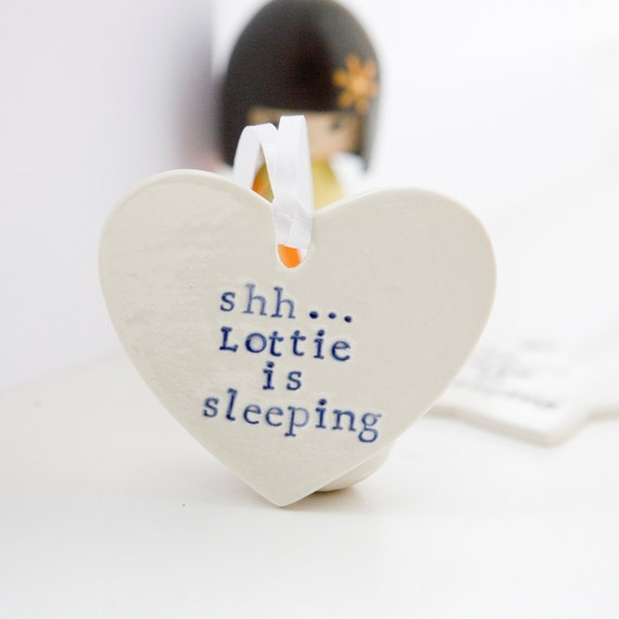 Personalised Baby Gift/Nursery Door Sign/Plaque/Hanger/'shh...baby is sleeping' Sign - comes with gift pouch - by Diana Parkhouse
