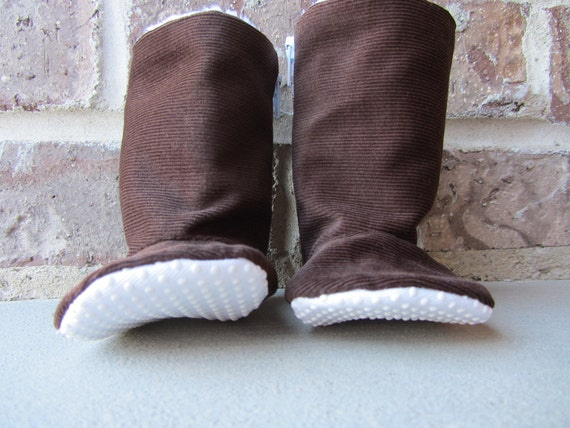 Brown Corduroy Baby boots- newborn to toddler-  non slip sole, soft baby boots