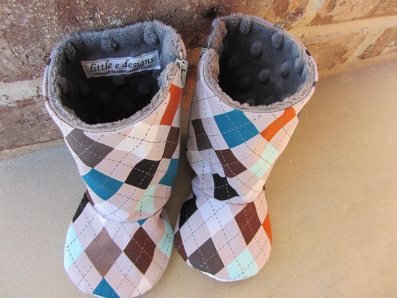 Boutique baby boy boots size 12-18 months- ready to ship- argyle