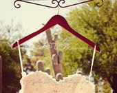 Personalized Bridal Wedding Dress Gown Name Hanger - Wire & Wood