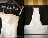 Personalized Wedding Dress Hanger, Bridal Hanger, Name Hanger  - Natural or Walnut - Great Gift