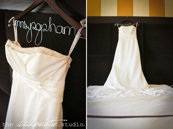 Personalized wedding dress hanger bridal by for Personalised wedding dress hanger