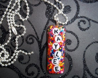 Personalized Candy Sprinkle necklace, Name Necklace, Resin Necklace, Girls Necklaces, teens Necklace